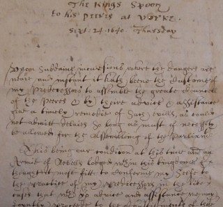 Part of the Kings Speech to his Peers at Yorke   Hertfordshire Archives and Local Studies