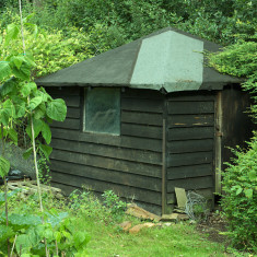 The hut from Roundwood Halt relocated to the adjoining garden. | July 2010, © St Albans Museums