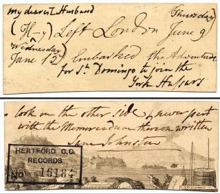 The card recording Henry's departure | Hertfordshire Archives and Local Studies