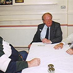 Left to right: Dennis & Peter Flitton, Roy Fox   Geoff Webb