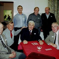 Left to right: Dennis Sibley, Peter 'Podger' Fox, Geoff Webb, Charlie Collett (seated), Brian Cowland, Terry Day and Harry Halsey | Geoff Webb