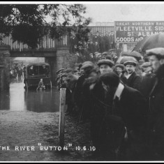 June 1910. Sutton Road, Fleetville, St Albans, 'dipped' beneath the railway bridge, and often flooded. | © St Albans Museums