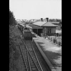 Goods train passing through Redbourn Station, 1950s. | Lent by Ken Allen