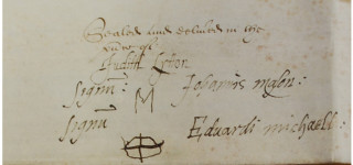 Signatures on the bottom of the 1609 release of land document | Woolmer Green Parish Council