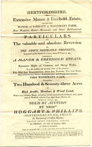 Sale particulars of the Manor of Sarratt and Woodmans Farm, 1808 | Herts Archives & Local Studies