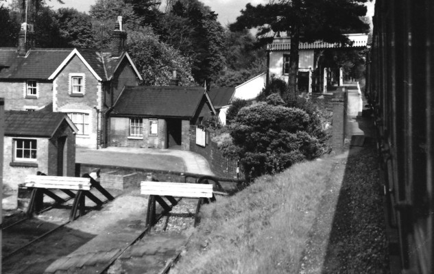 Coming in to Wheathampstead Station, perched above the village, from the west in 1959.   © Alan J Willmott
