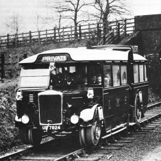 The LMSR Ro-Railer, a hybrid motor coach and locomotive, with retractable wheels, on an experimental run in the 1930s. | © C J Allen Collection