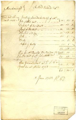 List of expenses and receipts of the same court, 28 March 1754 | Herts Archives (483329)