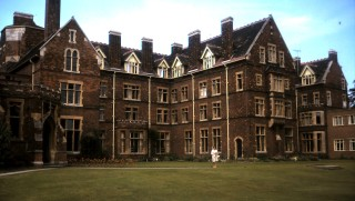 Homerton College, Cambridge (Olive is in front, revisiting her college in later years)