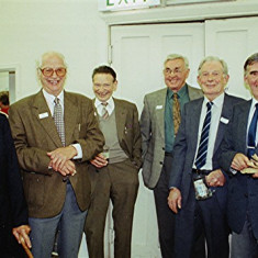Left to right: Dennis Holt, Malcolm Webb, Bill Gurney (partially obscured), Fred Wilson, Percy 'Maz' Gurney, Harry Halsey, Ernie Young, Derek Fellowes, Norman Peck | Geoff Webb