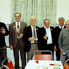 Left to right: Peter Allen, Fred Woodstock, David Hooper, Tom Belshaw, Tom Archer, Terry O'Dell, Maurice Webb, Charlie Collett | Geoff Webb