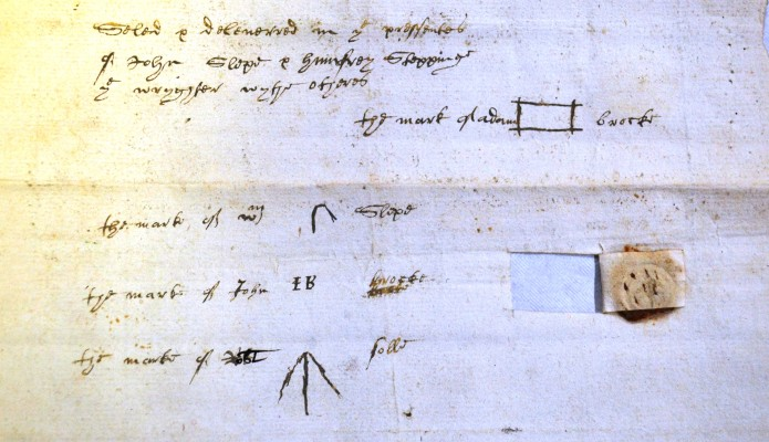 You can see the Square drawing with the name Adam Brocke either side. His witnesses could not write either so they had made their own little drawings. Adams occupation is given as a Husbandman, dated 1606 and from St Peter's, St Albans.      ref 47AW2 | Hertfordshire Archives and Local Studies