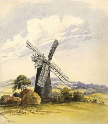 The windmill in 1874 - a watercolour by Alice M.A. Baumgartner