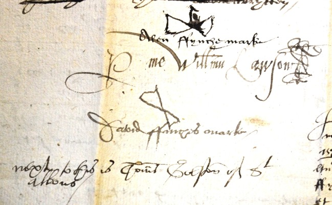 The will of Allen Fynche, 1577, the top is from one of his witnesses and looks like someone flying an aeroplane. His occupation is that of a Husbandman. 18AW9 | Hertfordshire Archives and Local Studies