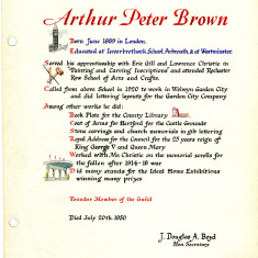 Arthur Brown's page in the Welwyn Craftworkers Guild Book | HALS