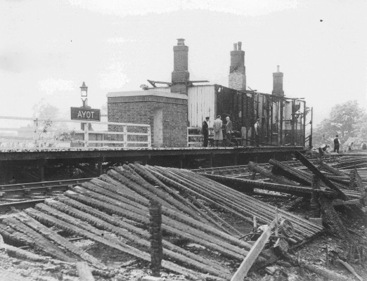 The remains of the station after the fire in 1948