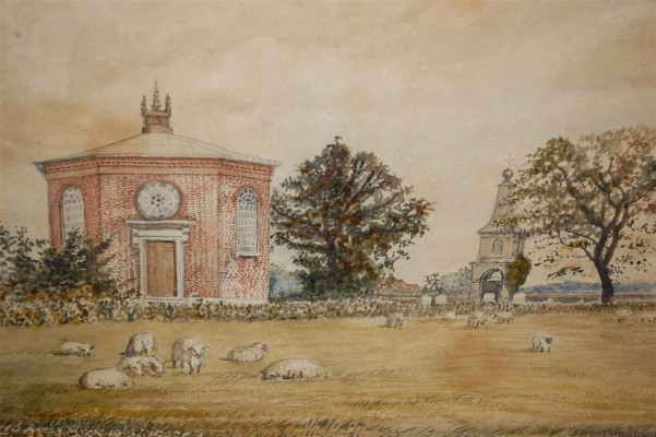 This painting shows the second Ayot St Peter church which existed from 1751-1862. The artist was John Henry Buckingham (1800-81), who was based in St Albans. This watercolour (WEWHM : 88/1) is owned by Mill Green Museum. They hold the information that Mrs Emily Webb was given the painting by her brother Alfred Cheek.