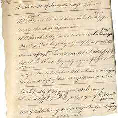 Accounts of William Barber, steward to the Radcliffe family of Hitchin, 1768. Barber kept accounts of servant wages and when they came into the Radcliffe's service: