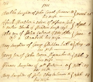 Africk's baptism record | Hertfordshire Archives and Local Studies. Ref:DP57.1.2