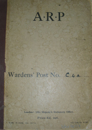 Cover ARP Wardens Log | Hertfordshire Archives and Local Studies