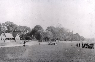 The 'Institute', with children playing on the Common | Harpenden LHS archives, cat.no. B 2.40