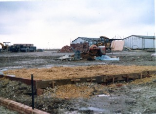 The garage base is laid, February 1983 | Susan Hall