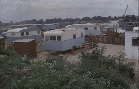 Trailers on sandy lane | Hertfordshire Archives and Local Studies