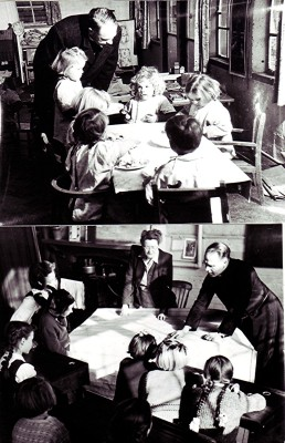 The top photograph shows the Rev. David Bickerton visiting youngsters at The Annexe building on Redbourn Common.  The lower photograph shows Rev. David Bickerton paying one of his periodical visits to Redbourn Girls School on the Common. | Geoff Webb