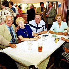 Left to right: Billy Bolt, John Hill, Dolly Fox, Ken Bolt, Pam Ranscombe, Margaret Fox, Maureen Smith | Geoff Webb