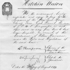 The Hitchin Union applied to the Boys' Farm Home to allow boys from their district to attend the school and agreed to contribute towards the cost.