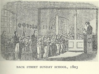 Back Street Sunday School | From a painting by an unknown hand, published in Reginald Hine's History of Hitchin