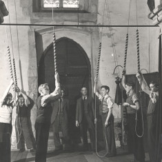 Bell ringing inside St Leonards Church | hertfordshire Archives and Local Studies