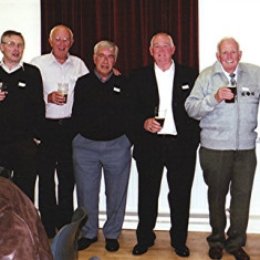 (Left to right): Mick Miles (front), Derek Crawley, Jim Burrows, Peter Fisher, Terry O'Dell, brothers Mick, 'Jippy' and John O'Hara | Geoff Webb