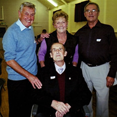 Peter 'Podger' Fox (centre), Bob and Christine Benn (centre) and Geoff Webb | Geoff Webb