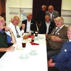 (Left to right): James Millars, Albert Reading, Brian Palmer, Terry O'Dell (rear), Mick Day, Mick Maguire (rear), John Pidgeon, Derek Fellowes | Geoff Webb
