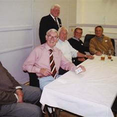 (Left to right): Ken Marshall, George & Vic Henry, 'Snowy' Nunn (standing), John Groves, Peter Allen, Ken Bolt (rear), Ivor Webb | Geoff Webb