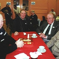 Left to right: Brothers Dennis, Roy and Peter Flitton, Roy Fox | Geoff Webb