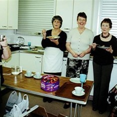 These 'Dinner Ladies' left to right are: Mo Fox, June Fox, Irene Benn, Yvonne Sibley, Lily Cowland. | Geoff Webb