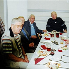 (Left to right): Tony Dickinson, Jeff Coote, John Allen, Jim Dalton, Jim Ratcliffe, Bob and Bill Bolt   Geoff Webb