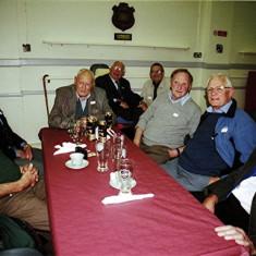 (Left to right): James Millars, John Catlin, Bill Fox, John Hill, Roger May, Clifford Coots, Clifford Hill, Brian 'Bob' Palmer | Geoff Webb