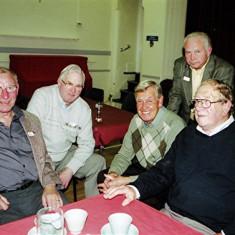 (Left to right): Mick Chatfield, John Bartlett, Peter 'Podger' Fox, Barrie Millington (rear), Brian Cowland | Geoff Webb