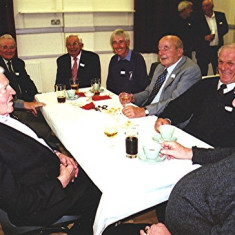 (Left to right): Geoff Nunn (front), John Luck, Harry Hobbs, John Hill, Roy Woods, Fred Arnold, George Blair, Alan French | Geoff Webb