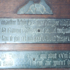 The ancient Brass memorial to John Hunger | Hertfordshire Archives and Local Studies