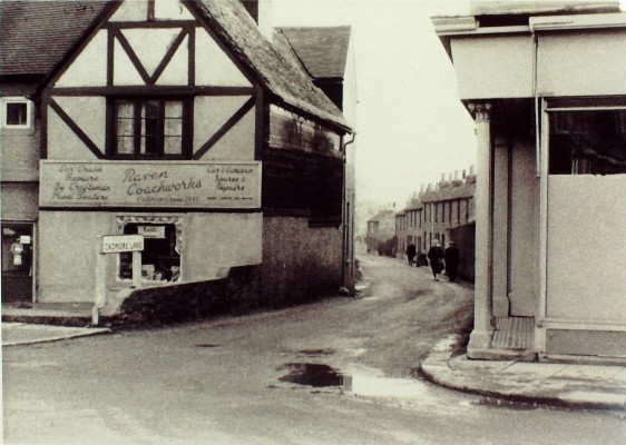 Junction with Cadmore Lane before road widening, c 1957