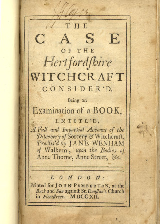 Jane Wenham of Walkern, 1712 | Hertfordshire Archives & Local Studies Ref: 133.4