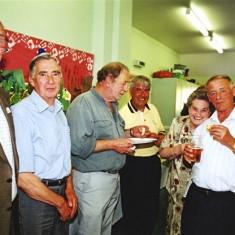 Left to right: John Catlin, Derek Fellowes, Brian Bowland, Terry O'Dell, Brenda Ventham, Tom Archer | Geoff Webb