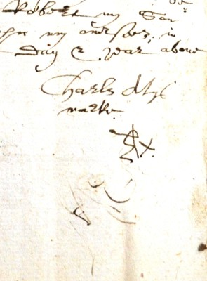 Dated 1606 this Will is that of Charles Aty of Watford, his mark looks like an E and an X, he was a labourer.     ref 47AW1 | Hertfordshire Archives and Local Studies