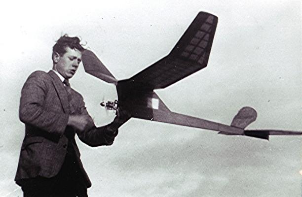Charles 'Charlie' Brown Jnr. with one of his model aeroplanes. | Geoff Webb