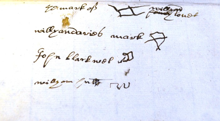 There are lots of marks on this, the will of Christopher Edwards. Dated 1594, Christopher came from Watford and his occupation was that of a ploughmaker.     ref. 35AW6 | Hertfordshire Archives and Local Studies