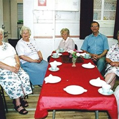 Left to right: Stella Coote, Doris Elsden, Ruth Tingey, Muriel Draper, Geoff Webb (helper), Olive and Betty Peacock. | Geoff Webb